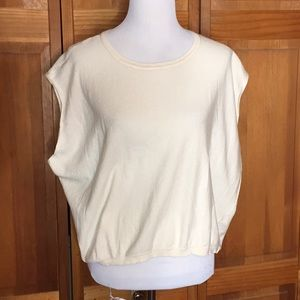 PURE DKNY 100% cotton Ivory Top LARGE $145